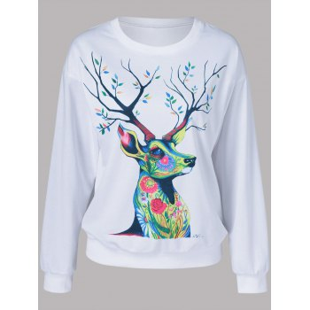 Floral Deer Pattern Sweatshirt