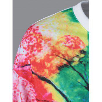 Tie-Dye Tree Pattern Sweatshirt - WHITE XL
