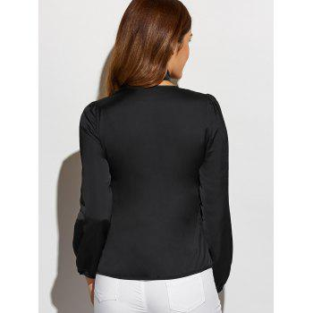 Long Sleeve Single-Breasted Blouse with Scarf - BLACK L
