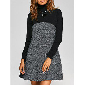 Turtle Neck Knit-Paneled Textured Dress