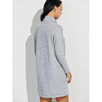 Cowl Neck Heathered Shift Dress - LIGHT GRAY L