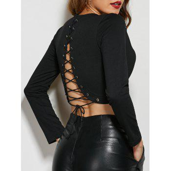Back Criss-Cross Long Sleeve Crop Top