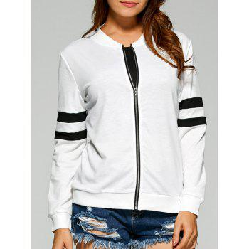 Striped Zipper Design Bomber Jacket