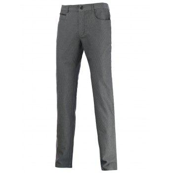 Straight Leg Zip Pocket Mid-Rise Texture Pants