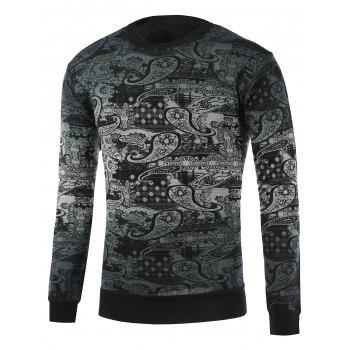 Ombre Paisley Pattern Crew Neck Knitwear