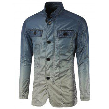 Button Up Stand Collar Back Vent Ombre Jacket