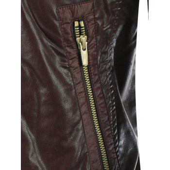 Zippered froncé stand Collar Faux Leather Jacket - Brun L