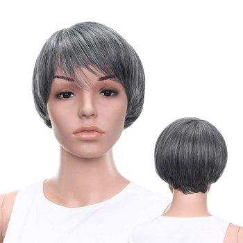 Graceful Short Side Bang Straight Mixed Color Synthetic Wig