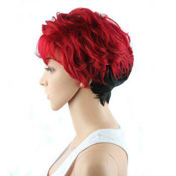 Short Manly Full Bang Ombre Color Wavy Synthetic Wig - RED/BLACK