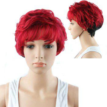 Short Manly Full Bang Ombre Color Wavy Synthetic Wig