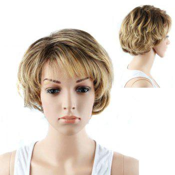 Short Double Color Side Bang Slightly Curled Synthetic Wig