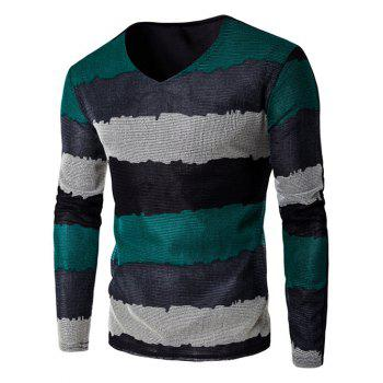 Buy Color Striped V-Neck Texture T-Shirt GREEN