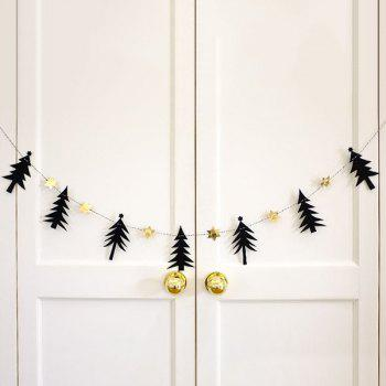 Pine Tree Bunting Garland Christmas Supplies Party Decoration - BLACK BLACK