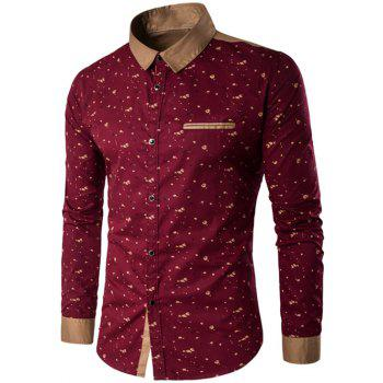 Contrast Insert Floral Printed Button Up Shirt