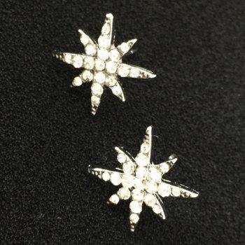 Star Floral Rhinestone Stud Earrings