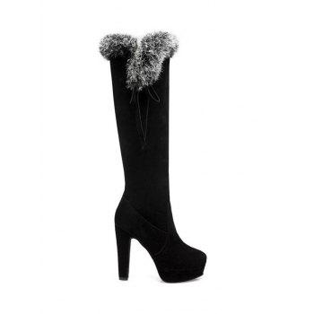 Platform Faux Fur Zipper Knee-High Boots
