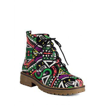 Flat Heel Tie Up Patchwork Ankle Boots