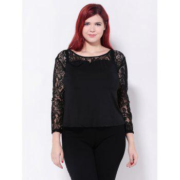 See-Through Floral Lace Patchwork Blouse