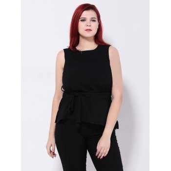Chiffon Tied Belt Slimming Tank Top