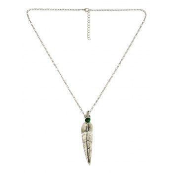 Faux Pearl Feather Pendant Necklace