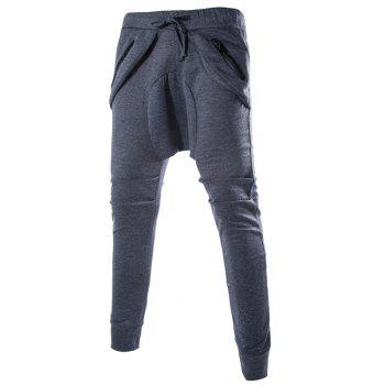 Low Crotch Zipper Embellished Loose Fit Jogger Pants
