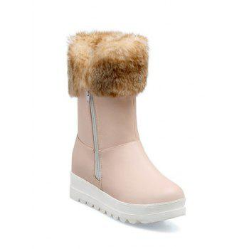 Zipper Increased Internal Faux Fur Snow Boots