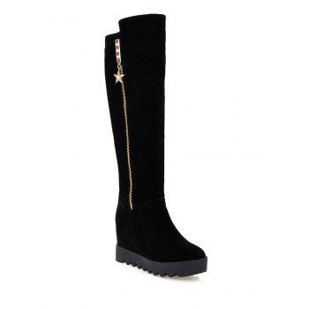 Rhinestones Hidden Wedge Knee High Boots