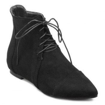 Pointed Toe Flat Heel Ankle Boots