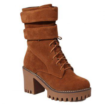 Zip Chunky Heel Suede Short Boots - BROWN 37