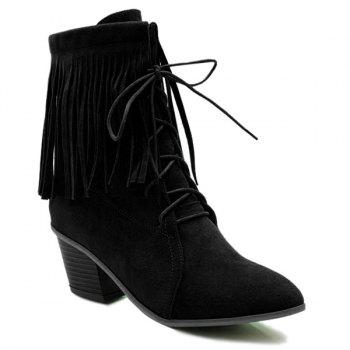 Tie Up Pointed Toe Fringe Short Boots - BLACK 39