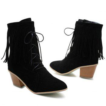 Tie Up Pointed Toe Fringe Short Boots - 39 39