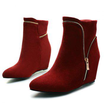 Zipper Hidden Wedge Short Boots - 38 38