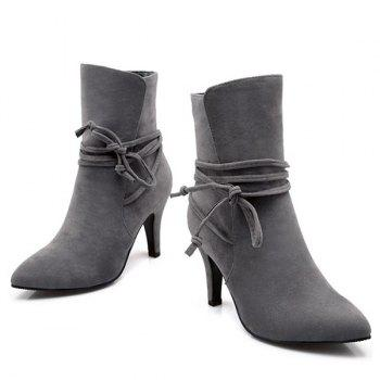 Lace Up Stiletto Heel Short Boots - 37 37