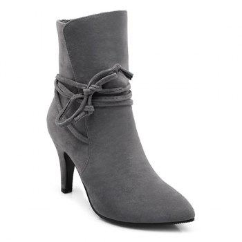 Lace Up Stiletto Heel Short Boots - GRAY 37