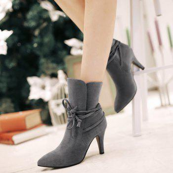 Lace Up Stiletto Heel Short Boots - 38 38