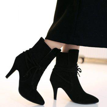Lace Up Stiletto Heel Short Boots - 39 39