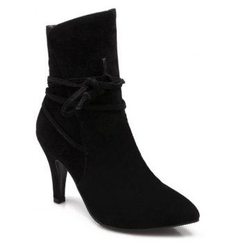 Lace Up Stiletto Heel Short Boots - BLACK BLACK