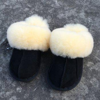 Dark Color Stitching Faux Fur House Slippers - BLACK BLACK
