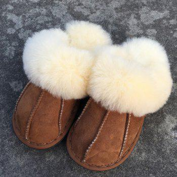 Dark Color Stitching Faux Fur House Slippers - BROWN BROWN