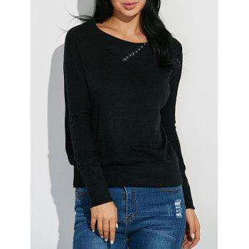 Ribbed Button Embellished Knitwear - BLACK L