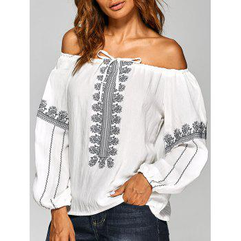 Off The Shoulder Embroidered Blouse - WHITE ONE SIZE
