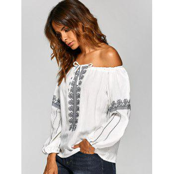Off The Shoulder Embroidered Blouse - ONE SIZE ONE SIZE