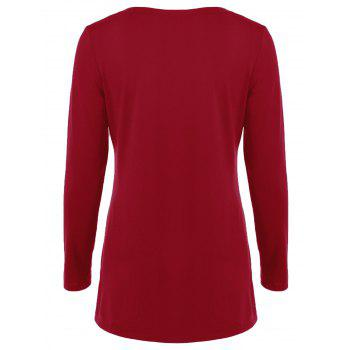 Double-Breasted Asymmetrical T-Shirt - RED M