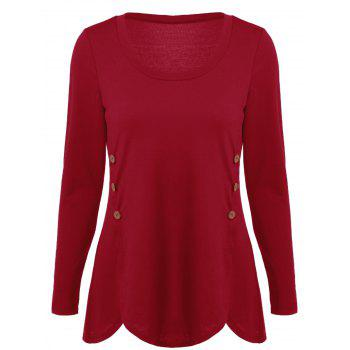 Double-Breasted Asymmetrical T-Shirt - RED RED