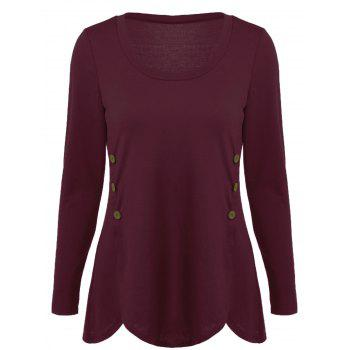 Double-Breasted Asymmetrical T-Shirt - DARK RED XL