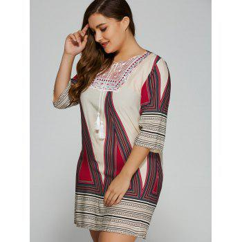 Plus Size Embroidered Geometric Print Dress - L L