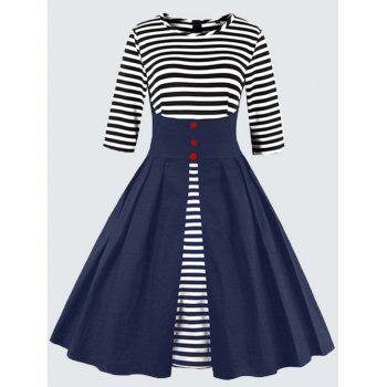 Plus Size Vintage Striped Button Embellished Dress - PURPLISH BLUE PURPLISH BLUE