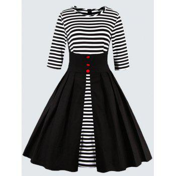 Plus Size Vintage Striped Button Embellished Dress - BLACK 2XL