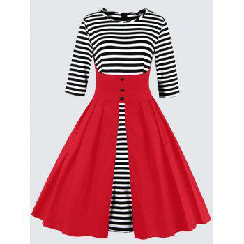 Plus Size Vintage Striped Button Embellished Dress - RED 2XL