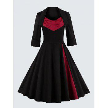 Plus Size Vintage Bowknot Skater Dress - RED 5XL
